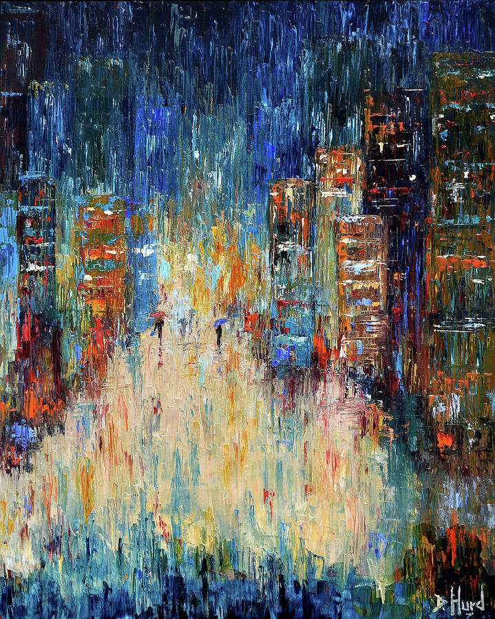 Abstract Painting Painting - Rain Dance Blues by Debra Hurd