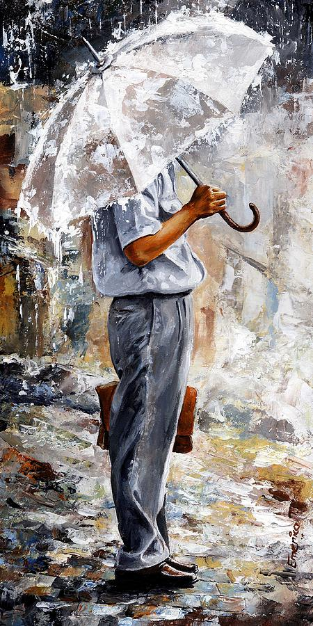 Rain Painting - Rain Day - The Office Man by Emerico Imre Toth