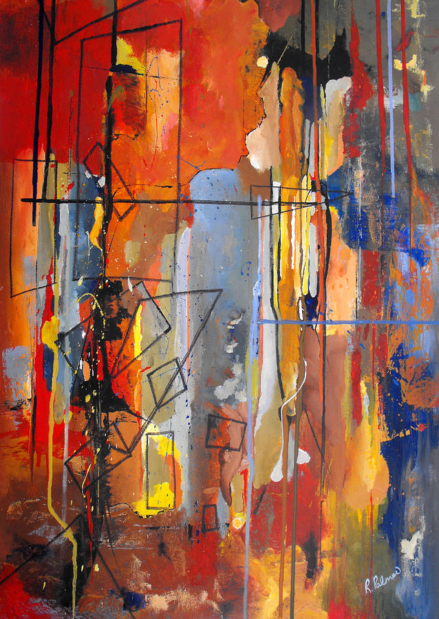 Abstract Painting - Rain Down by Ruth Palmer