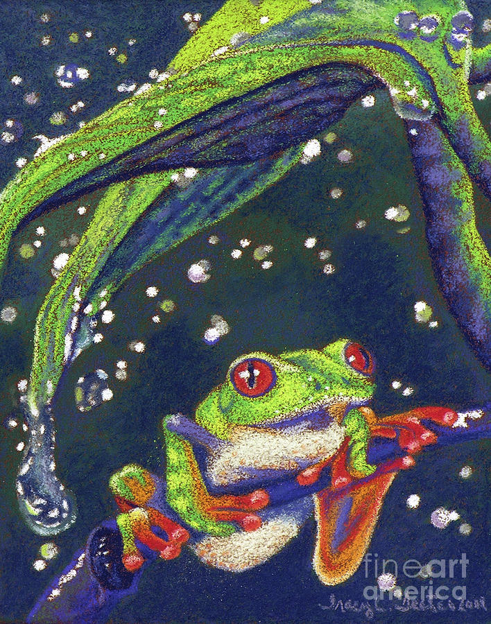 Treefrog Pastel - Rain Drops - Tree Frog by Tracy L Teeter