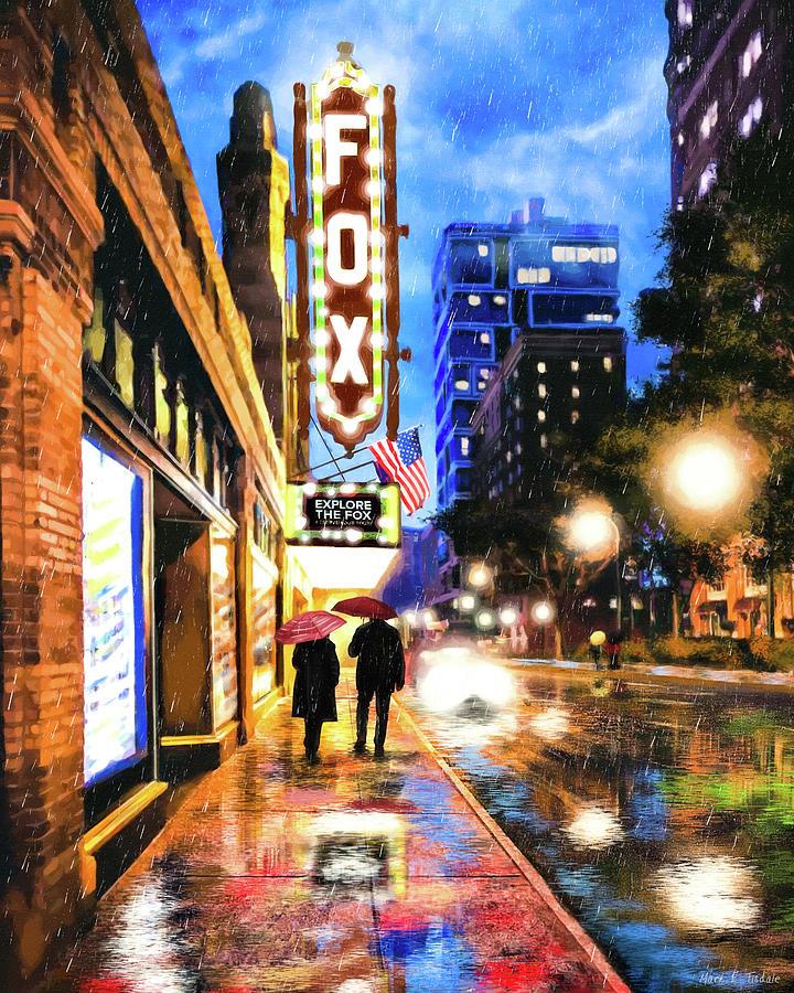 Atlanta Mixed Media - Rain Falling On Peachtree Street - Atlanta by Mark Tisdale
