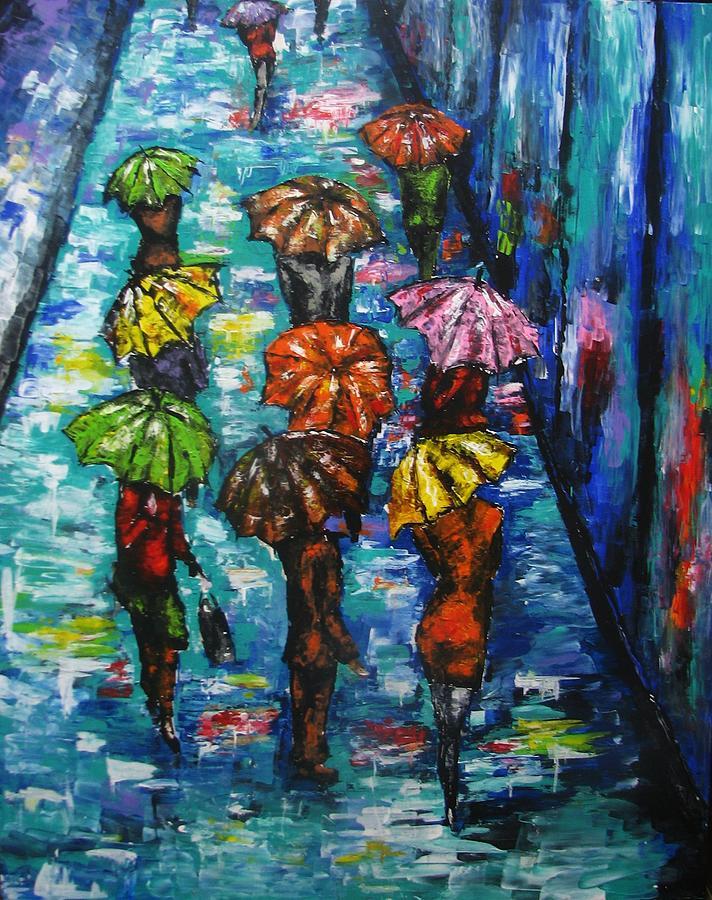 Rain Painting - Rain Fantasy Acrylic Painting  by Natalja Picugina