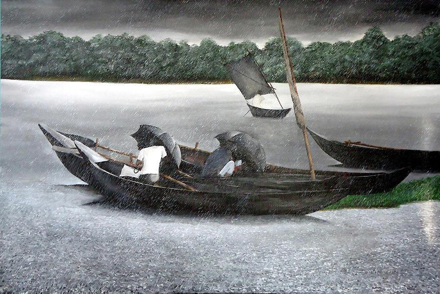 Rain Painting - Rain In Bangladesh- An Acrylic Painting by Fahad Hossain