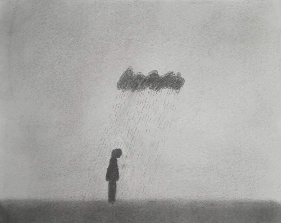 Walk Drawing - Rain by Keith Straley