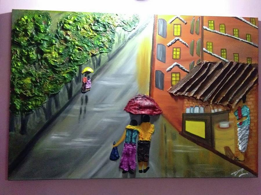Water Painting - Rain Nature And Street  by Divya Singh