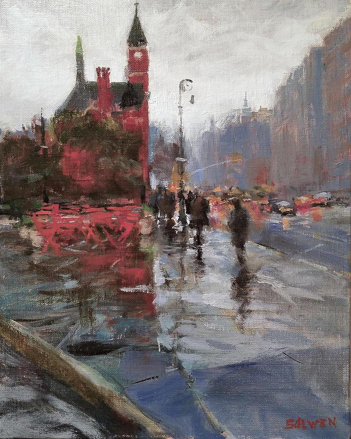 Landscape Painting - Rain On Sixth Avenue by Peter Salwen