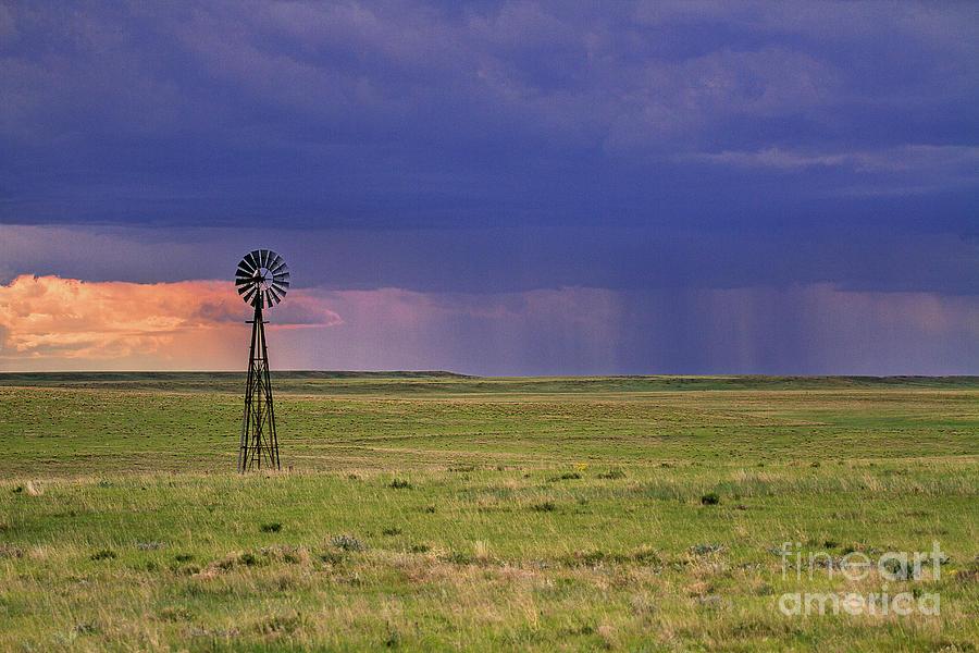 Windmill Photograph - Rain On The Plains by Jim Garrison