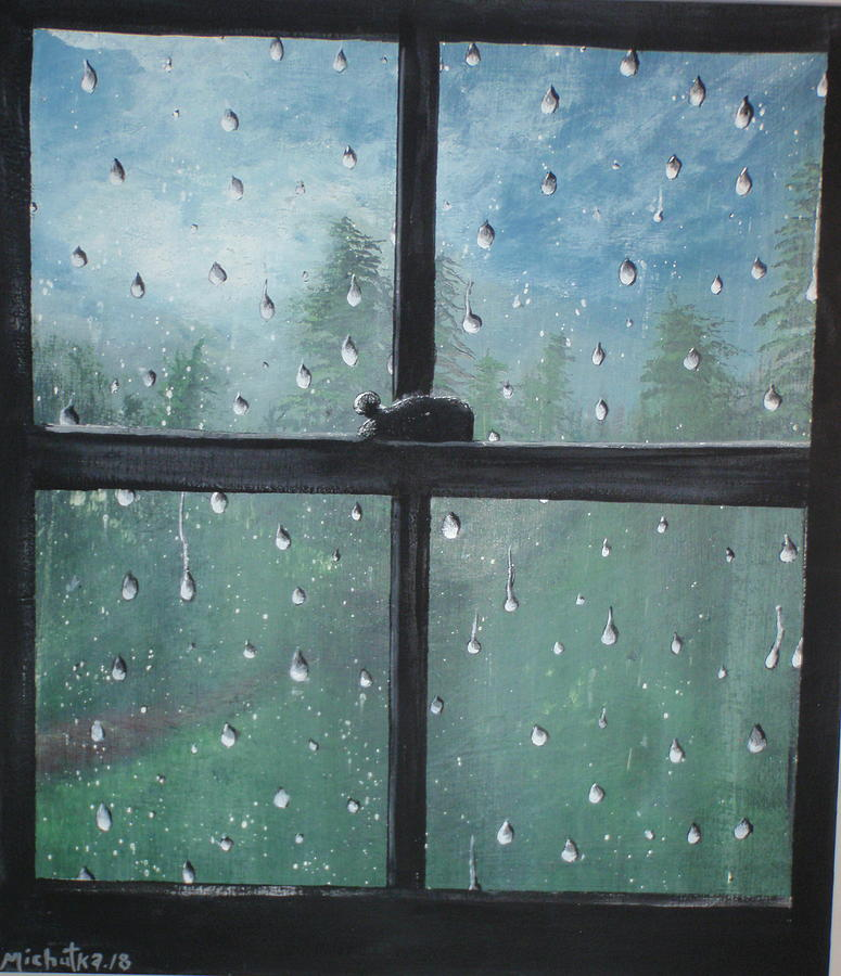 Folk Painting - Rain On The Window by Susan Michutka