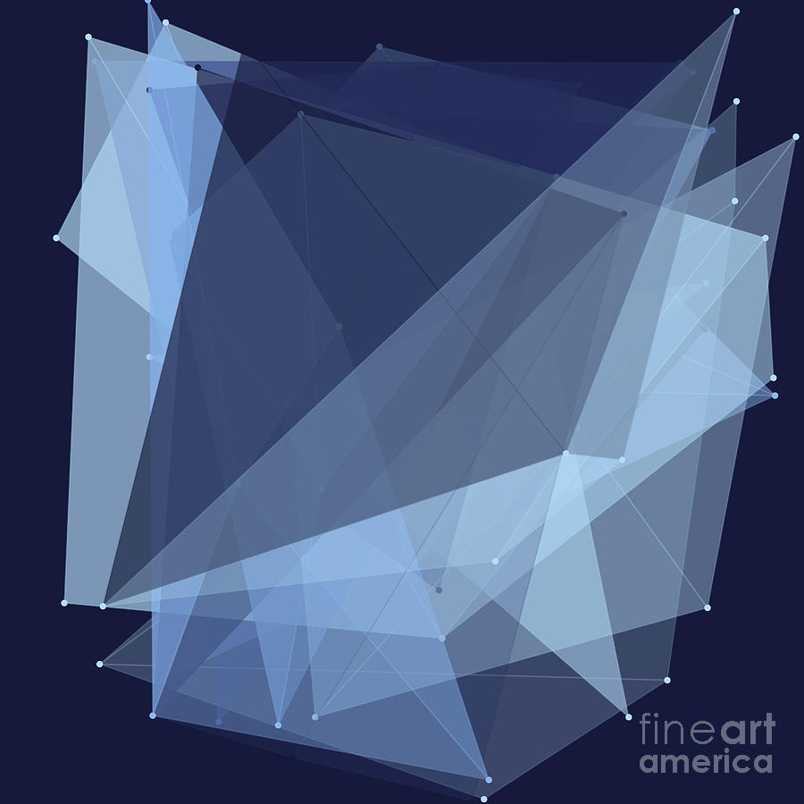 Abstract Digital Art - Rain Polygon Pattern by Frank Ramspott