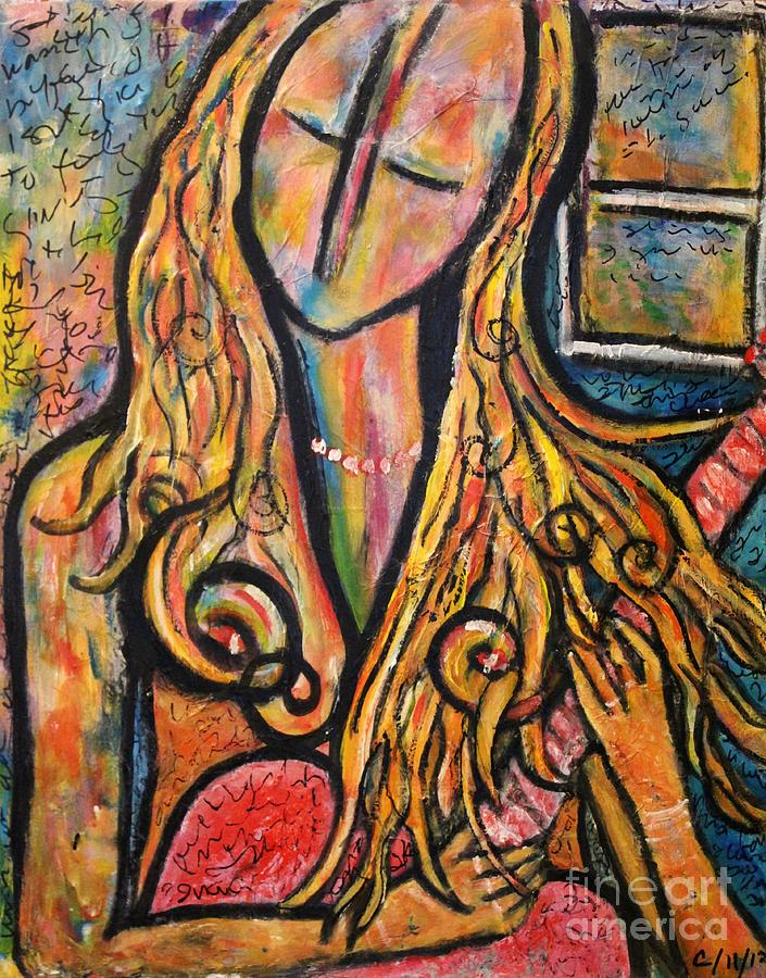Portrait Painting - Rain Song by Chaline Ouellet