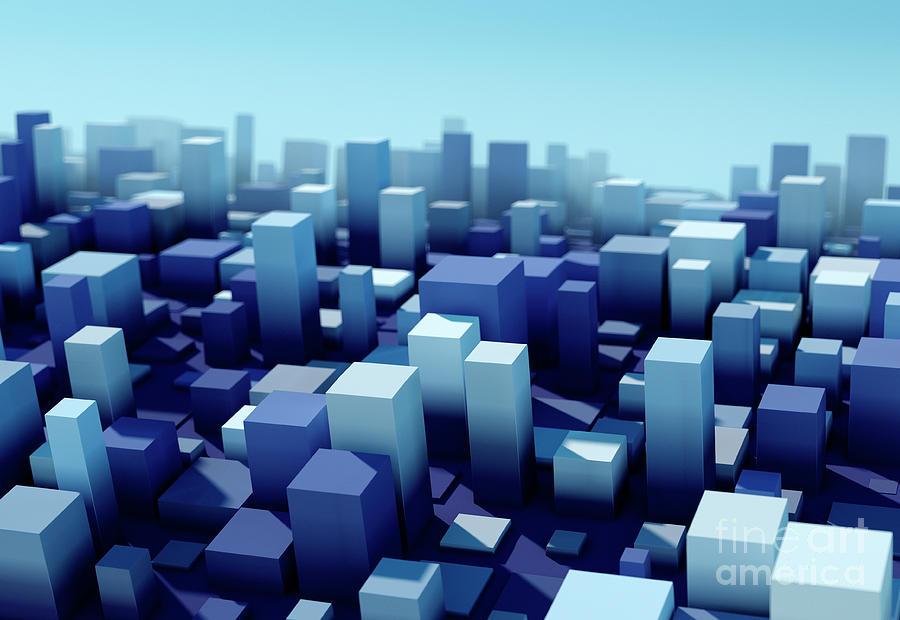 Design Digital Art - Rain Square Variation Pattern Abstract 3D Cityscape DOF by Frank Ramspott