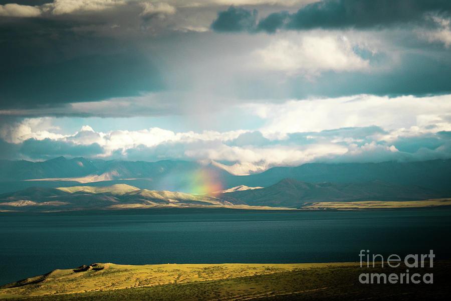 Tibet Photograph - Rainbow Above Lake Manasarovar Kailash Yantra.lv by Raimond Klavins