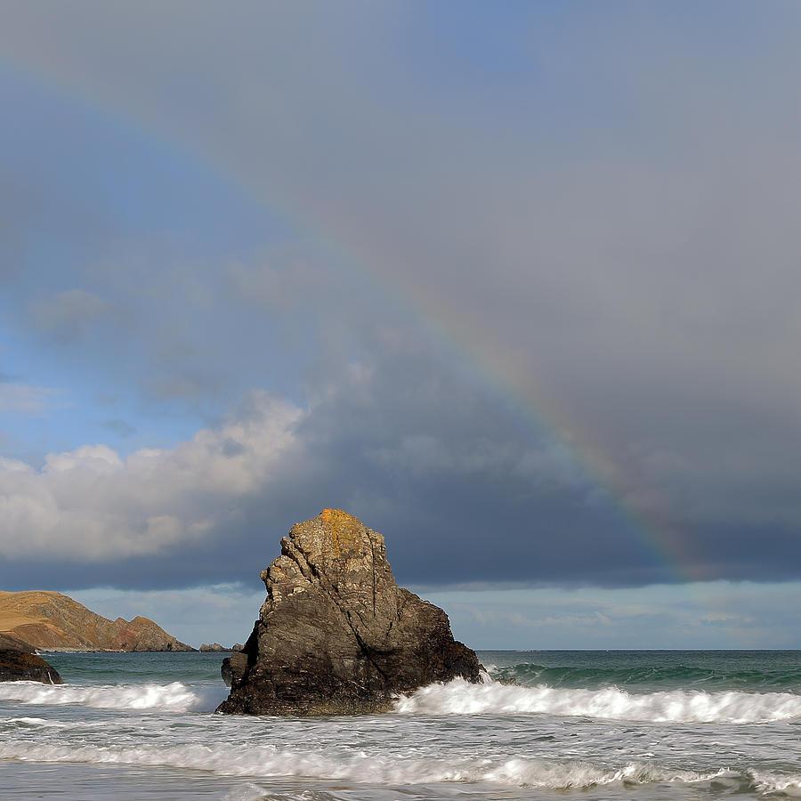 Durness Photograph - Rainbow Above Sango Bay Sea Stack by Maria Gaellman