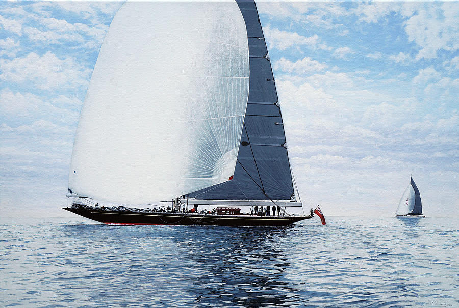 J Class Yachts Painting - Rainbow And Ranger J Class Racing Yachts by Mark Woollacott