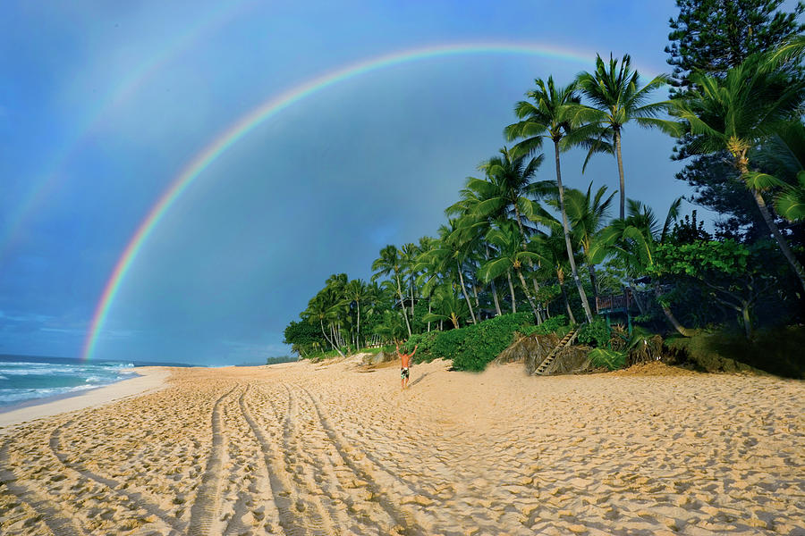 Rainbow Photograph - Rainbow At Pipeline, North Shore,  by Sean Davey