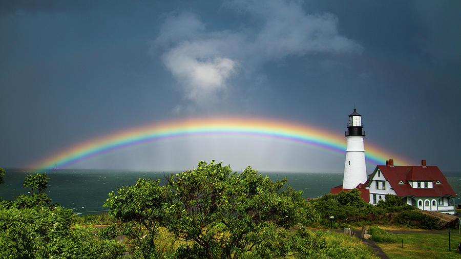 Rainbow at Portland Headlight by Darryl Hendricks