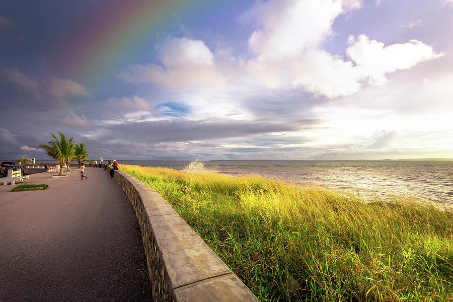 Sea Photograph - Rainbow At  Seaside by Louloua Asgaraly