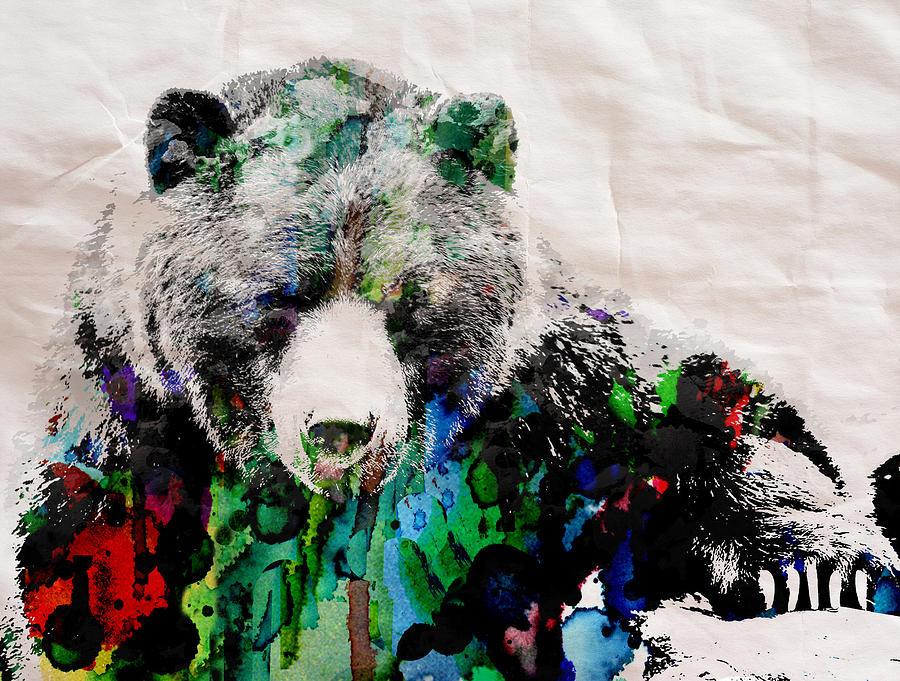 Rainbow Bear Watercolor Print Poster Painting By Robert R