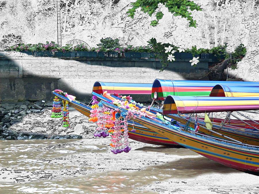 Thailand Photograph - Rainbow Boats Thailand Photo Art by Karla Beatty