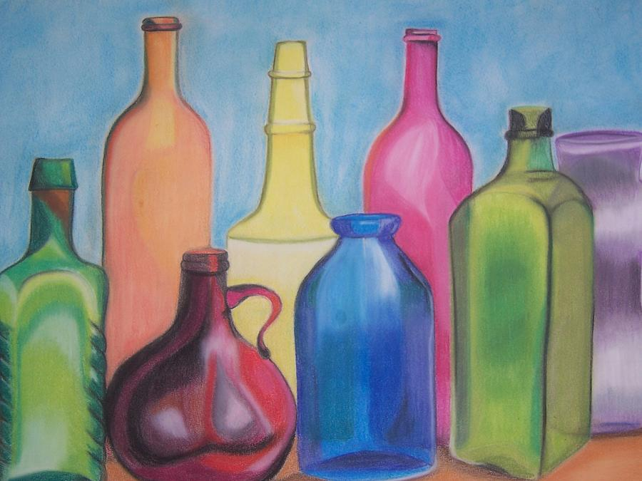 Still Life Pastel - Rainbow Bottles by Joanna Smith