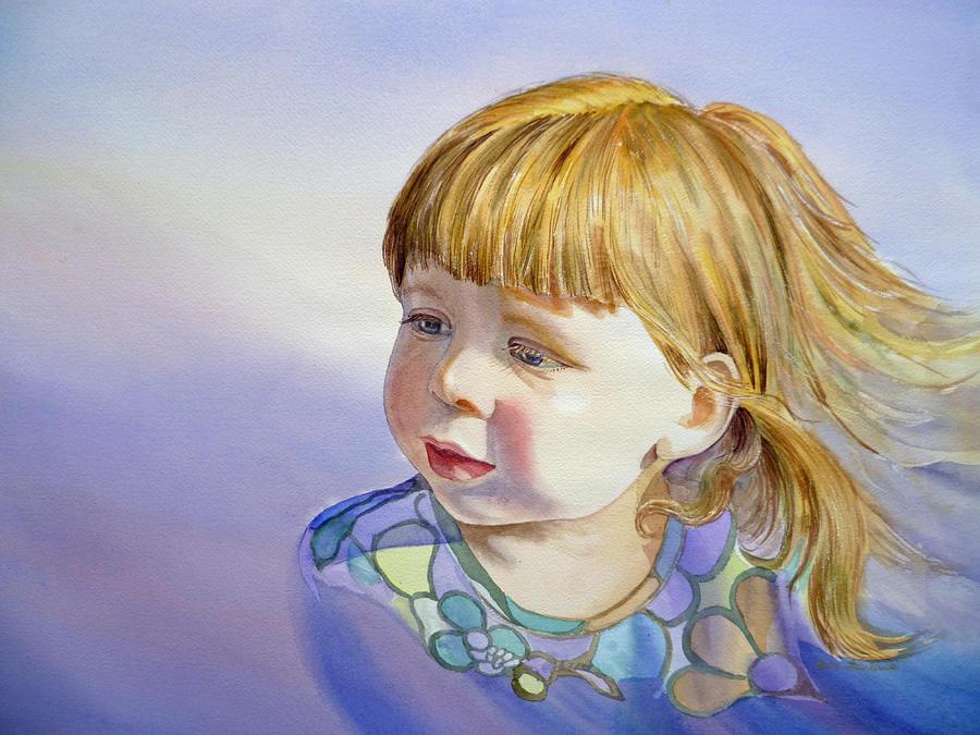 Girl Portrait Painting - Rainbow Breeze Girl Portrait by Irina Sztukowski