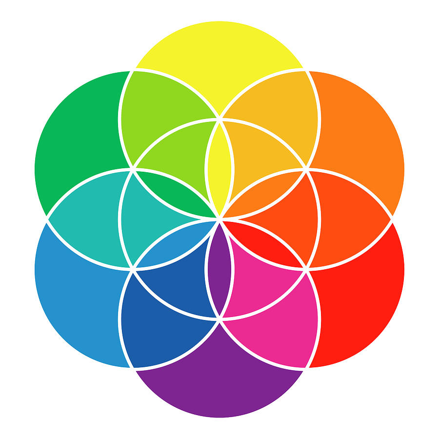 Rainbow Colored Seed Of Life And Color Wheel by Peter Hermes Furian