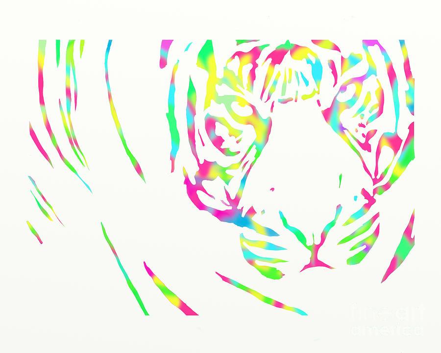 Rainbow Digital Art - Rainbow Coloured Tiger by Tracey Everington
