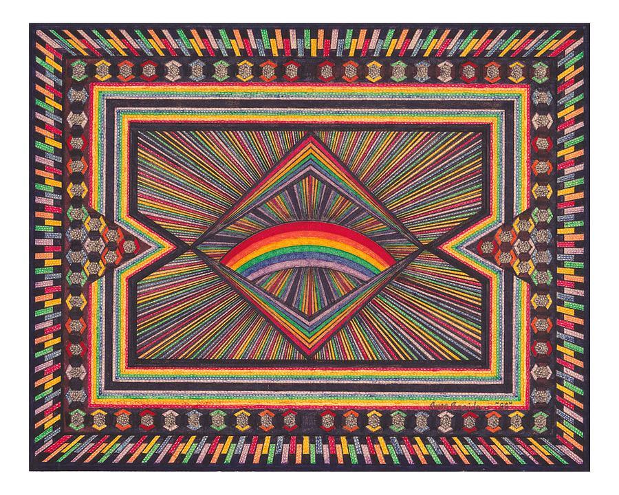 Geometric Design Drawing - Rainbow Design by Amos Beaida