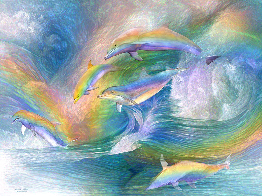 Rainbow Dolphins by Carol Cavalaris
