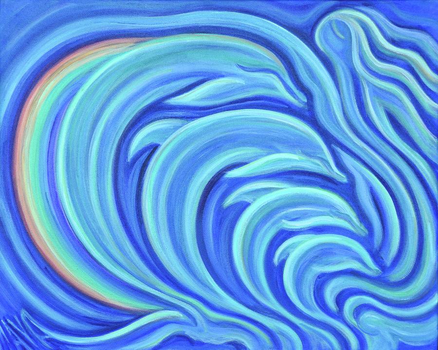 Dolphins Painting - Rainbow Dolphins by Maya Soaringsun