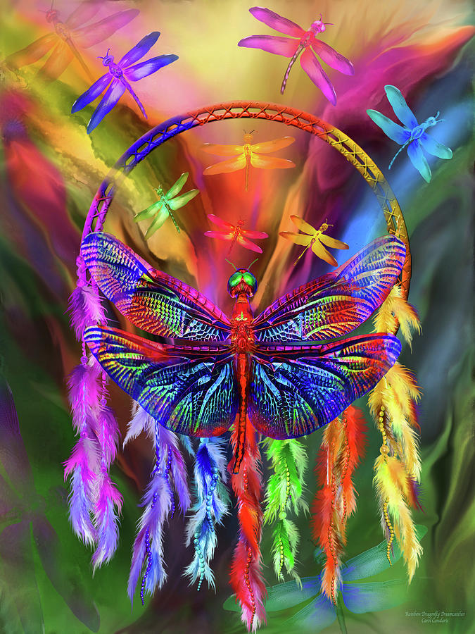 Rainbow Dragonfly Dream Catcher by Carol Cavalaris