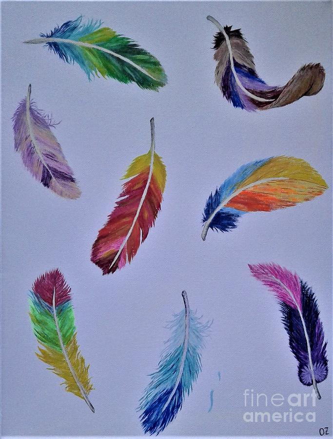 Rainbow Feathers by Olga Zavgorodnya