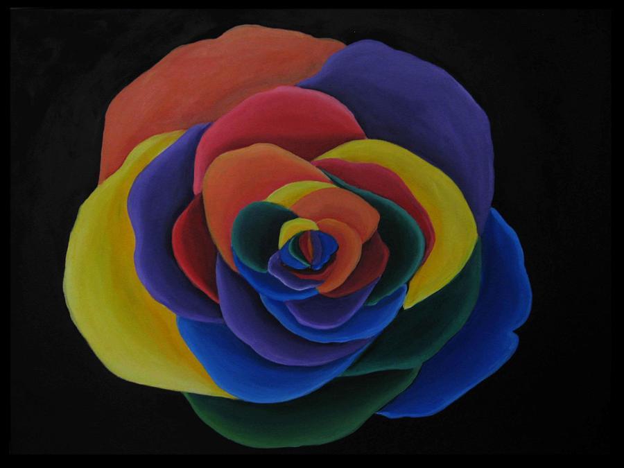 Rainbow Painting - Rainbow Flower by Alycia Ryan