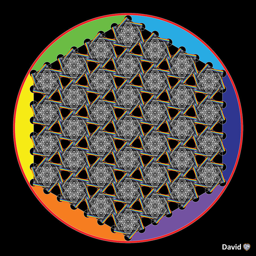 Flower Of Life Digital Art - Rainbow Flower Of Life Wob by David Diamondheart