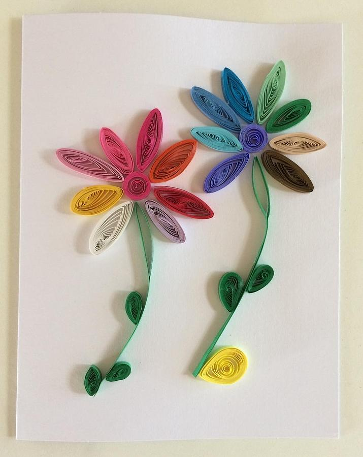 Rainbow flowers handmade quilling greeting card mixed media by gay quilling mixed media rainbow flowers handmade quilling greeting card by gay dallek m4hsunfo