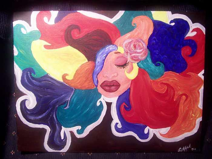 Woman Painting - Rainbow Hair by Hollie Leffel