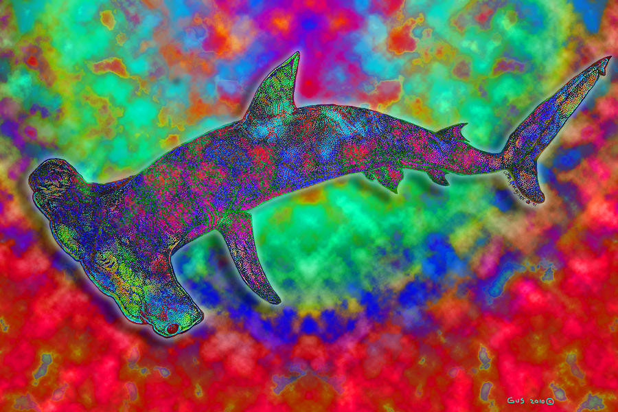 Hammerhead Shark Digital Art - Rainbow Hammerhead Shark by Nick Gustafson