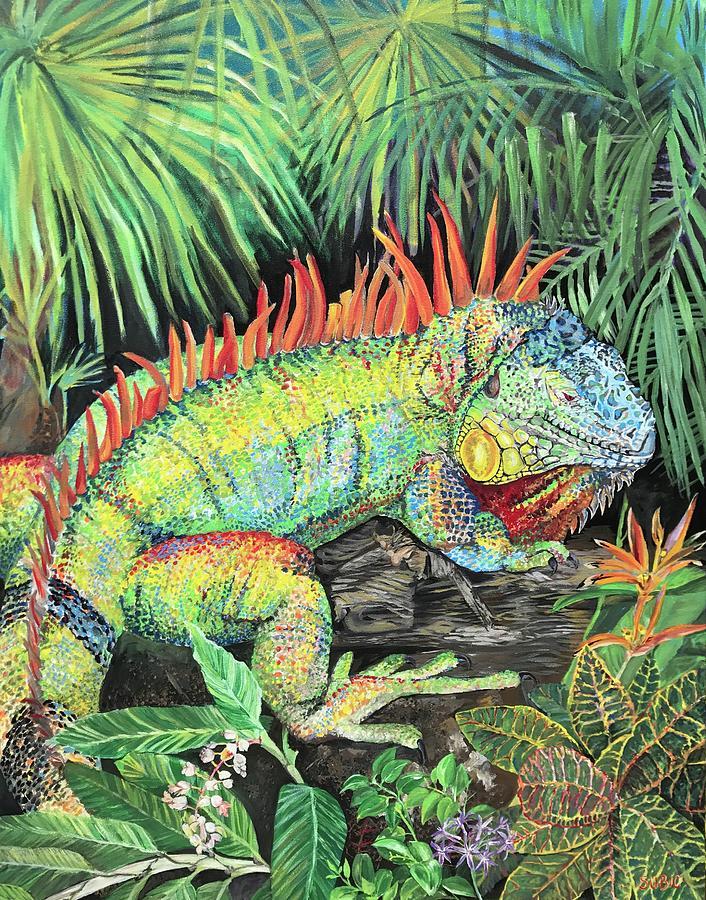 rainbow iguana painting by amanda zirzow