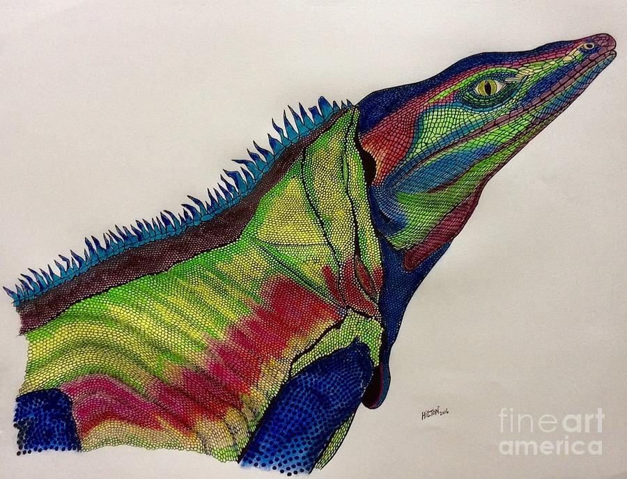 Rainbow Iguana  Pastel by Graham Wallwork