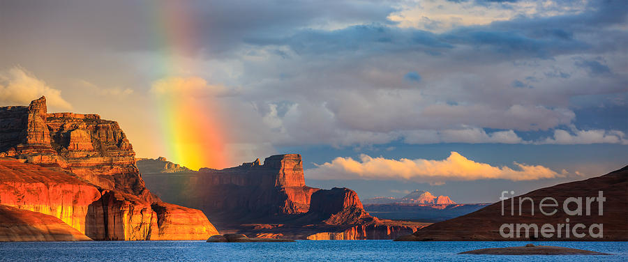America Photograph - Rainbow In The Padre Bay, Lake Powell by Henk Meijer Photography