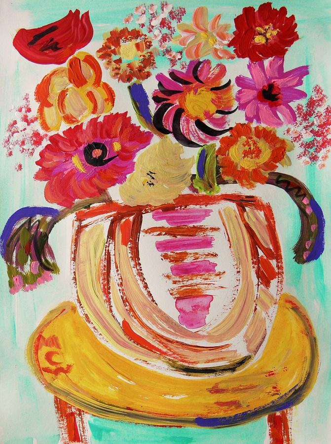 Floral Painting - Rainbow In The Vase by Mary Carol Williams