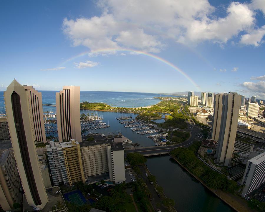 Rainbow Photograph - Rainbow In Waikiki by Colleen Joy