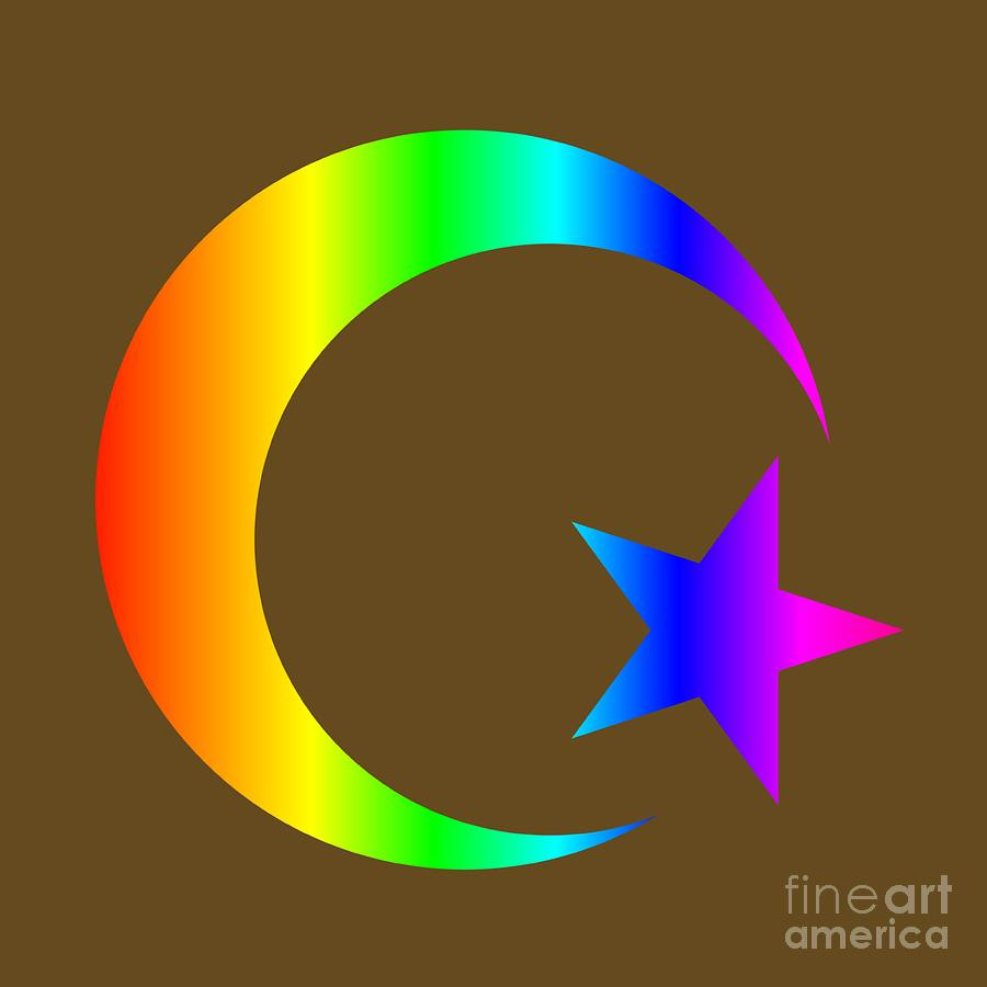 Rainbow Islam Symbol Digital Art By Frederick Holiday