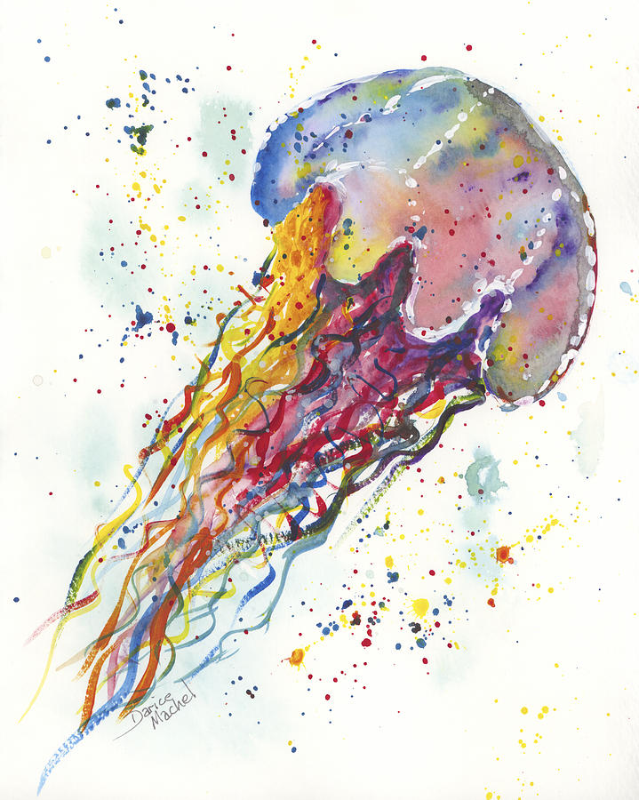Rainbow jellyfish painting by darice machel mcguire for Jelly fish painting