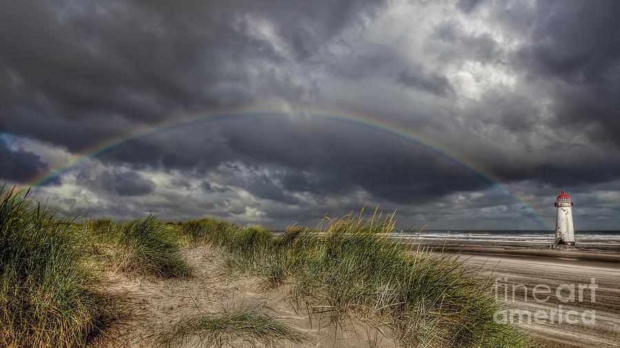 Rainbow Photograph - Rainbow Lighthouse by Adrian Evans