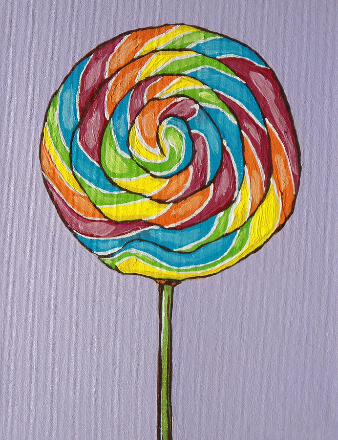 Candy Painting - Rainbow Lollipop by Sandy Tracey