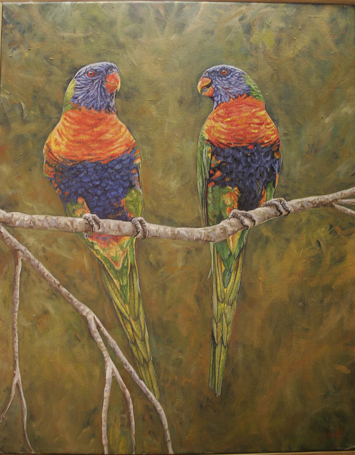 Birds Painting - Rainbow Lorikeets by Jason  Swain