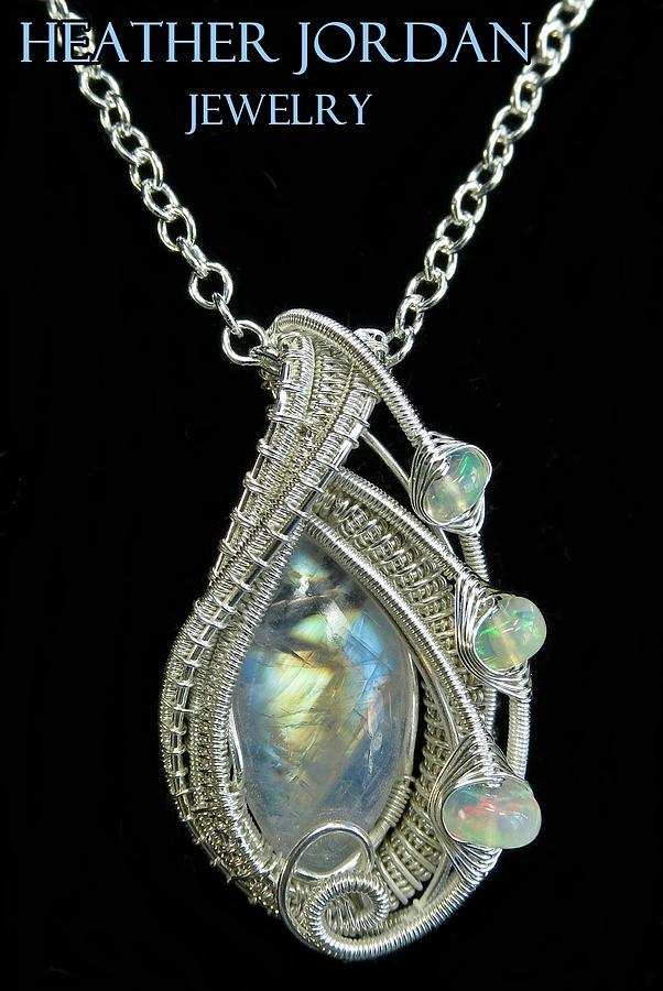 Rainbow Moonstone And Sterling Silver Wire-wrapped Pendant With ...