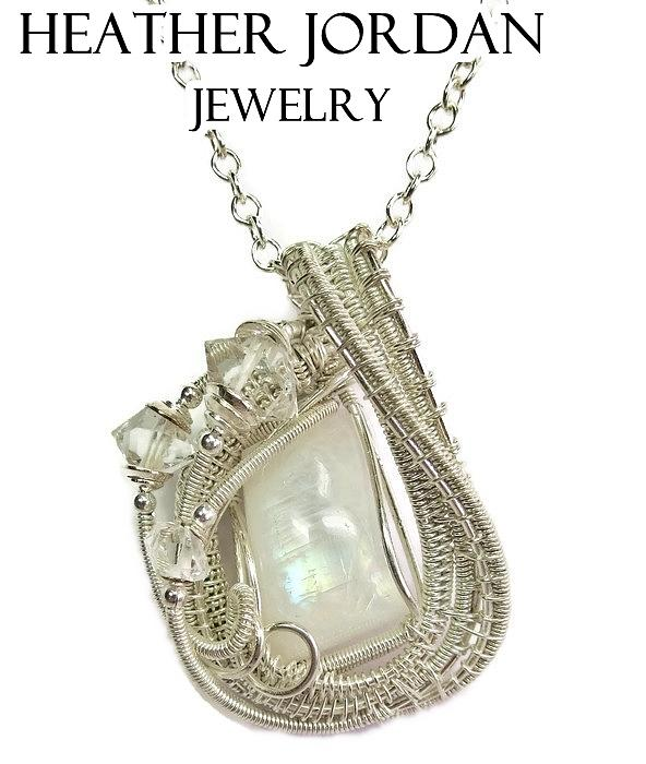 Rainbow moonstone and sterling silver wire wrapped pendant with heather jordan jewelry rainbow moonstone and sterling silver wire wrapped pendant with herkimer diamonds aloadofball Image collections