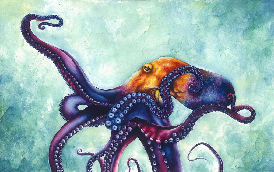 Rainbow Octopus Painting By Ashley Brown